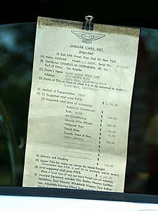 This is the original bill of sale from an early '70s vintage Jaguar.