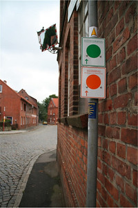 The green and orange markers are for city walks and bike rides.