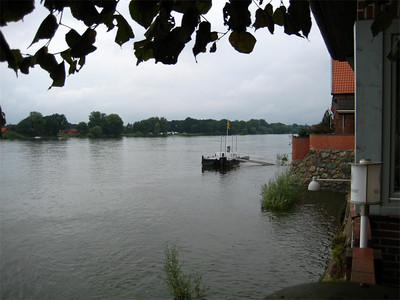 View from the restaurant along the Elbe river.  This direction will take you downstream to Hamburg, about 35 miles away.