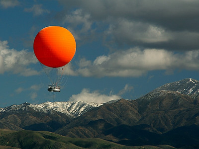 Another close up of the balloon, with our local mountains as a backdrop.