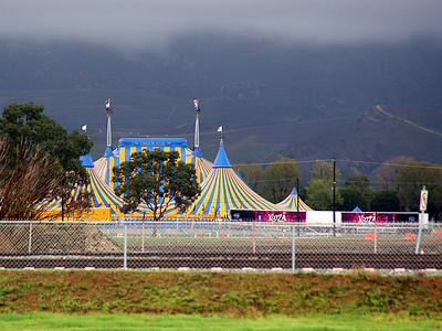 "Cirque du Soleil has set up their latest traveling show at the former MCAS El Toro.  This shot was taken from ""the other side of the tracks"" from Technology."