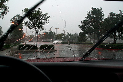 The rain was dropping in sheets.  Notice that the wiper is active, and there's already water on the freshly wiped window.