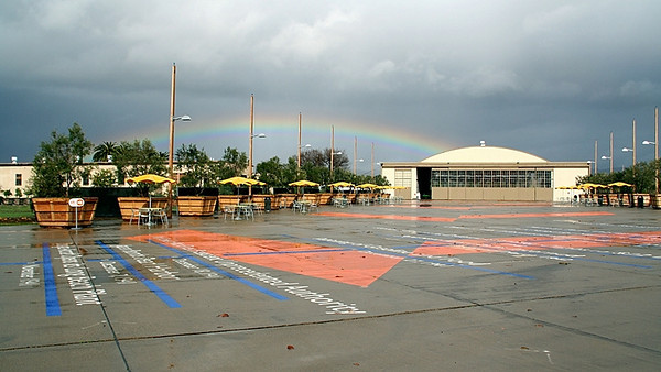 Another view of a stunning rainbow!  Here, the end of the rainbow touches the skating rink!