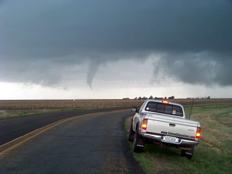 April 22, 2010<br /> <br /> Watching the tornado rope out. On I-40 and HWY 70 10 miles north of Howardwick, looking west.