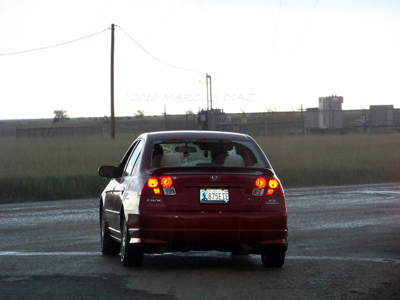 April 22, 2010<br /> <br /> One car coming out of the core with its back window blown out.