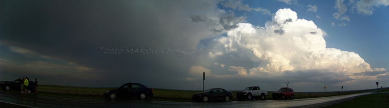 April 21, 2010<br /> <br /> Panoramic of our little chaser convergence. My car in the middle, Chris Rice's truck behind me, and Jason Boggs in the red SUV. We soon break away and catch up with that storm in the background.