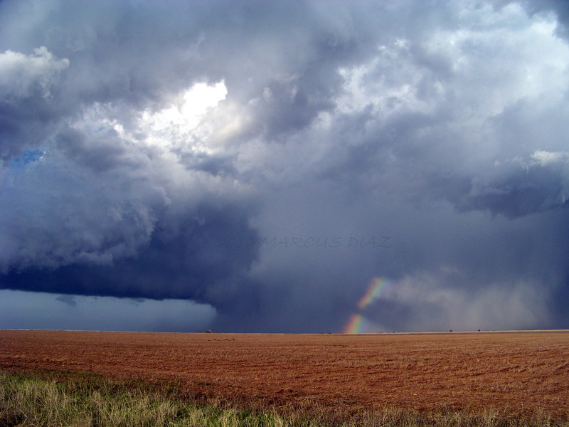 April 21, 2010<br /> <br /> Incredible mixture of colors as I get behind the storm. This was a few miles east of Lockney, looking northeast.