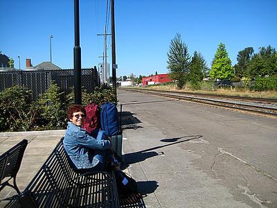 Karen awaiting our next train!