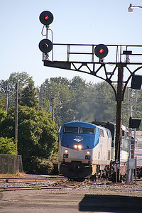 Our Coast Starlight arrives to continue you journey northward.  This of course was the next day's train, as we left our sleeper cabin the day before.