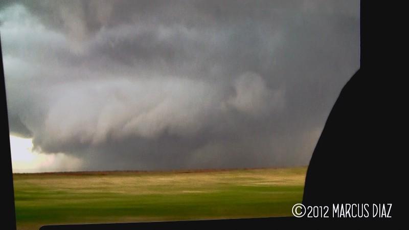 Video grab of the large rain wrapped tornado near Mangum.