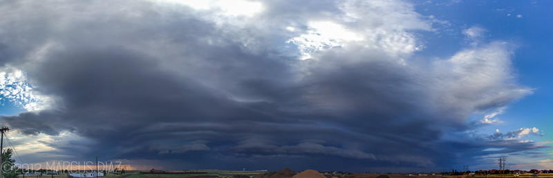 5 picture panoramic of a supercell rolling into Amarillo | July 8, 2012