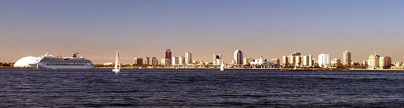 Long Beach skyline, single frame panorama.