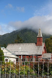St. Gregory's with Mt. Verstovia in the background.  (Sitka resident's:  If I got that wrong, please let me know!!)