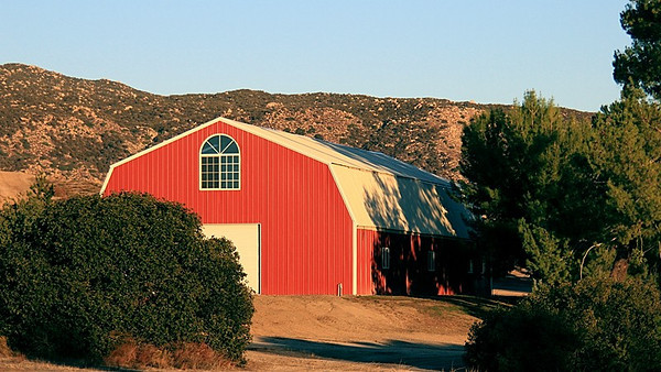"Barn during the ""golden hour"" before sunset."