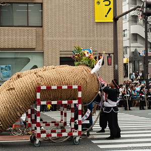 The end of the gigantic 100 meter rope that will be connected to an identical rope for the worlds largest tug of war. Naha Okinawa.