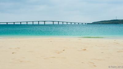 The 1.6 km long bridge connecting Kurimajima with Miyakojima seen from Yonaha Maehama beach, Miyakojima.
