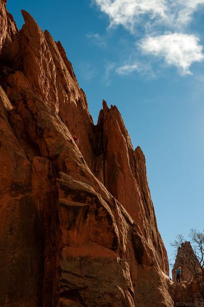 Rock climber in the Garden of the Gods, Colorado Springs, Colorado.