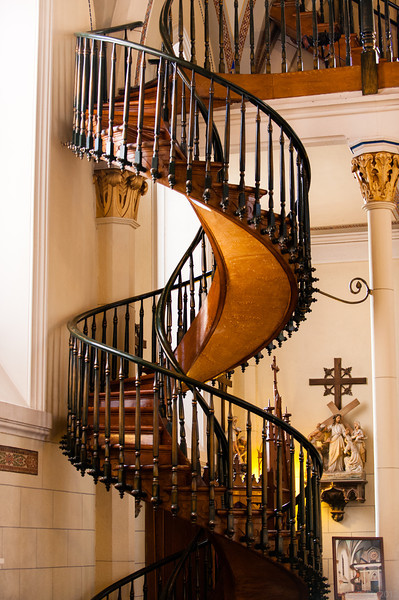 The Loretto Chapel spiral staircase, also known as the mystery staircase, Santa Fe, New Mexico.
