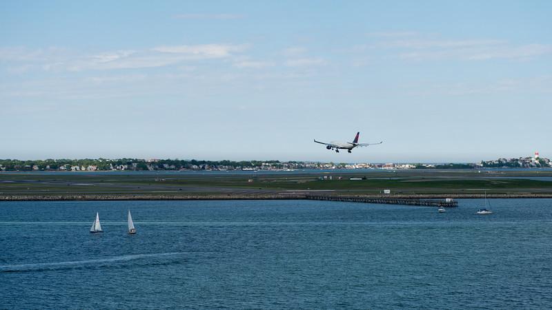 Landing on Logan airport runway