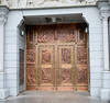 Basilica copper doors handcrafted by a local artist