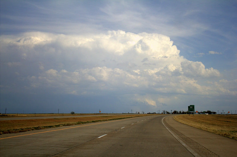 Looking south from just outside of Canyon. Strong looking updraft.