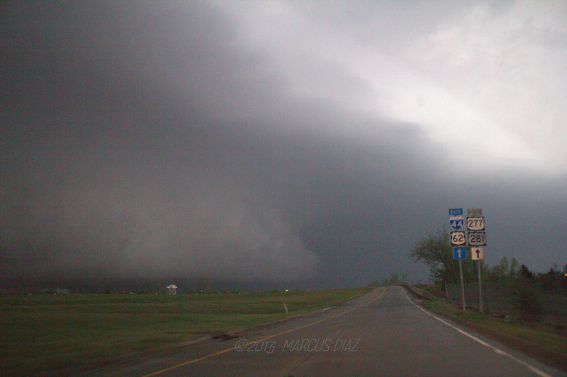 7:07 PM - I decide to gamble and drive into the bear's cage. We didn't see anything interesting inside. While we waited out the blinding core under a bridge, this dropped a tornado just a few miles to our east.