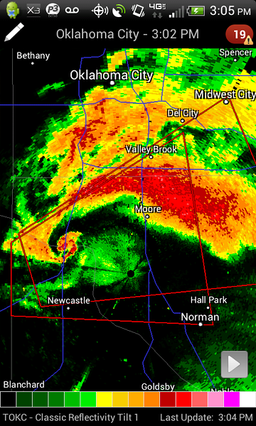 Very clearly that the southern OKC vicinity was going to be in big trouble.