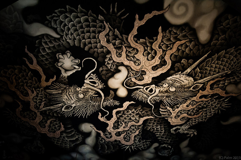 Twin dragons painted by Koizumi Junsaku. The painting measures 11.4m by 15.7m (the size of 108 tatami mats) and took just under two years to complete. Kennin--ji Kyoto.