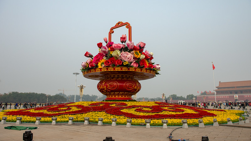17 meter tall flower basket - center of Tiananmen Square