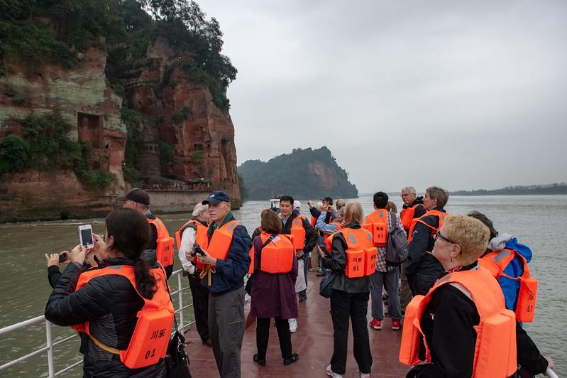 Approaching Leshan Giant Buddha by boat