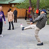 Ahwen juggling a shuttlecock with his feet
