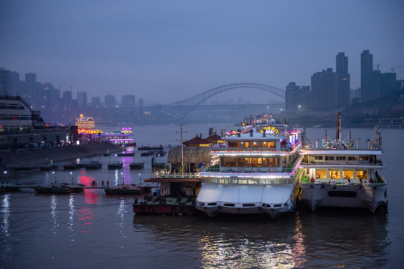 View of the Yangtze after boarding our ship