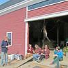IA WP Hog Husbandry People Eating Lunch by Barn 103014 TS
