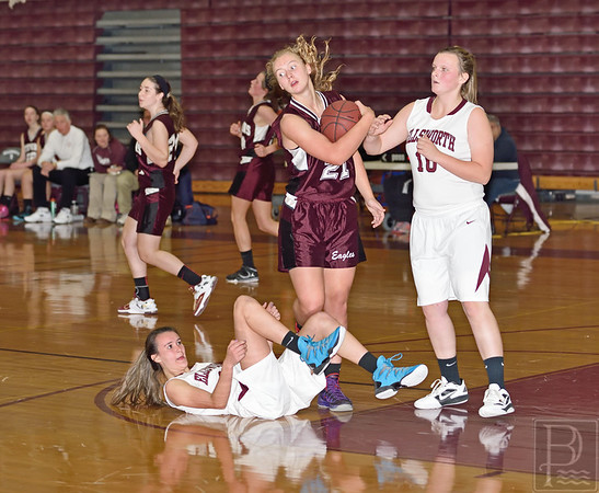 Sports; gsa; girls; scrimmage; EHS; Nov22; 192; dauk; Two; 120414; Eagles; GSA; George Stevens Academy; basketball; game; high school; school; sport; sports; team Sophomore Morgan Dauk takes control of the ball. Photo by Franklin Brown
