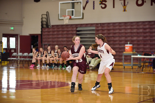 Sports; gsa; girls; scrimmage; EHS; Nov22; 100; allyson; snow; 120414; Eagles; GSA; George Stevens Academy; basketball; game; high school; school; sport; sports; team Sophomore Allyson Snow holds her own against Ellsworth. Photo by Franklin Brown