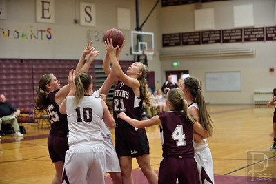 Sports; gsa; girls; scrimmage; EHS; Nov22; 321; Morgan; Dauk; 120414; Eagles; GSA; George Stevens Academy; basketball; game; high school; school; sport; sports; team Sophomore Morgan Dauk takes the ball and goes for her shot in the third quarter. Photo by Frankin Brown