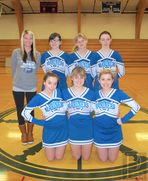 SPORTS; DISHS; Cheerleading; Team; 120414; DIS; Deer IsleStonington High School; Mariners; cheerleading; dishs; game; high school; school; sports; team Pictured are: front row, from left, Riley Getto, Captain Ali Eaton and Co-Captain Jess Trainor. Back row: Coach Kimberly Yurchick, Veronica Pezaris, Shaylee Bray and Cheyenne Bennet. Photo by Tevlin Schuetz