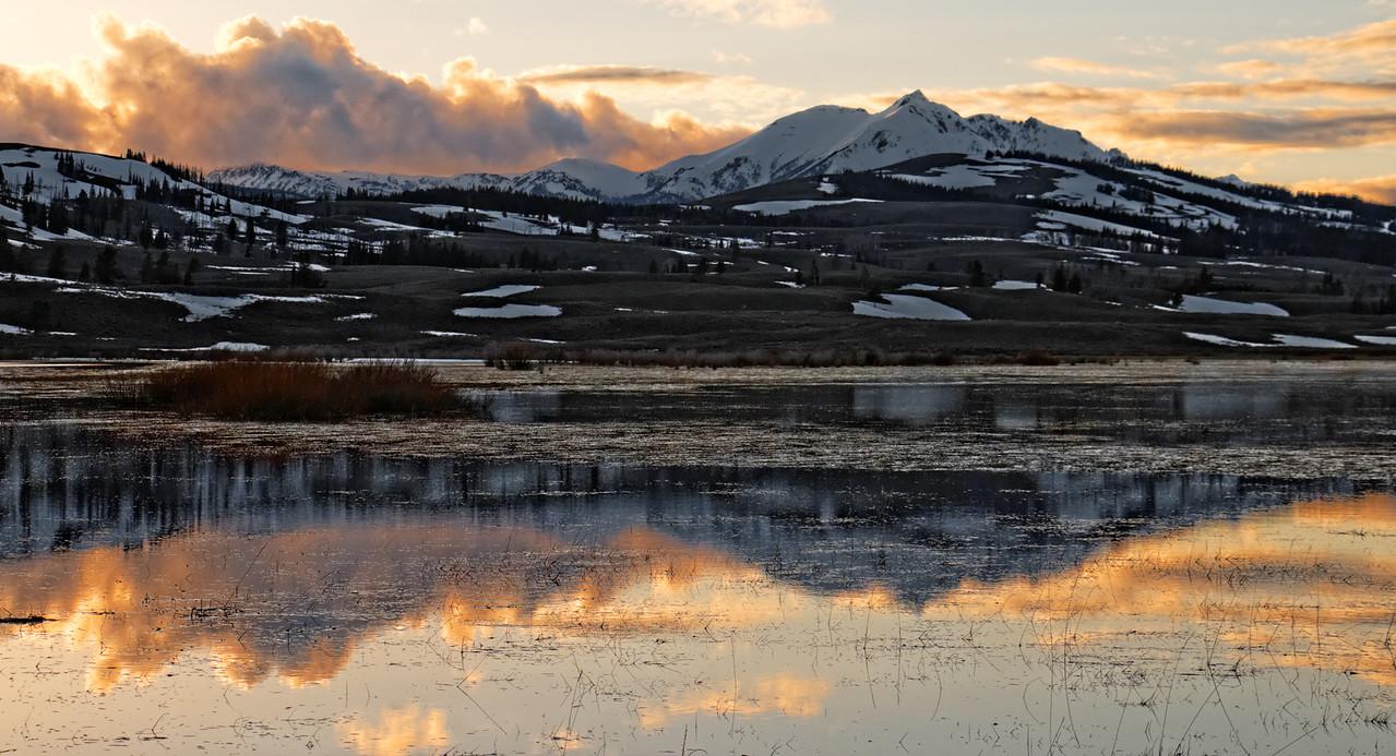 Electric Peak over Swan Lake at Sunset