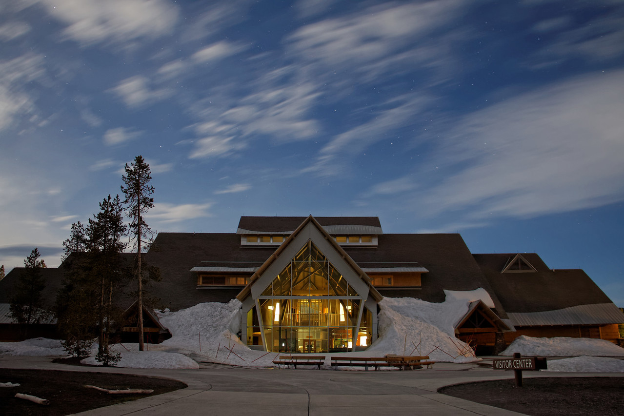 Old Faithful Visitor Center at Night