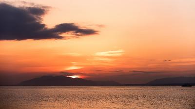 Sunset over lake Shinji, Matsue, Honshu.