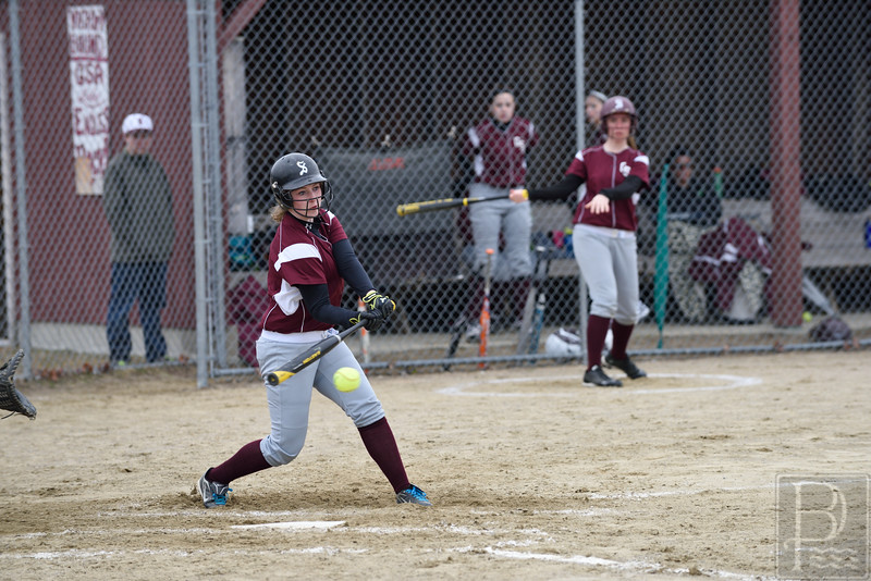 "Photo by, Franklin Brown<br />  <a href=""http://www.franklinbrown.net"">http://www.franklinbrown.net</a><br /> Girls Softball, George Stevens Academy vs. Ellsworth High School<br /> April 20, 2015"