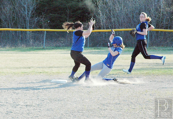 Natalie Knowlton is safe at second. Photo by Jack Scott
