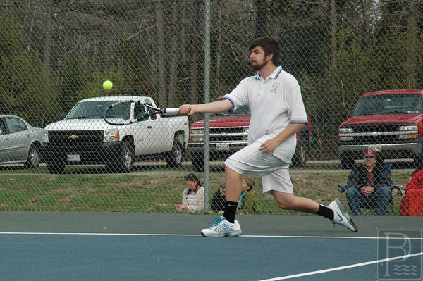 Sports; DIS; tennis; GSA; Matt; 052115; DIS; Deer IsleStonington High School; Mariners; dishs; game; high school; school; sport; sports; team; tennis Matt Duddy swings in a match against GSA. Photo by Jack Scott