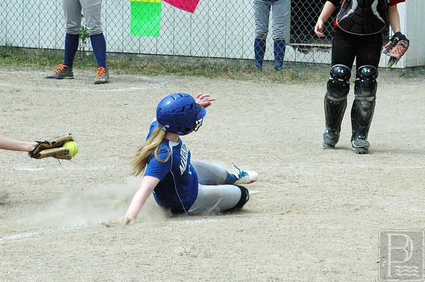 Sports; DIS; softb; all; holli; safe; home; 052115; SBBBKatahdin0515; game; high school; school; sport; sports; team Holli Boyce is safe at home plate against Bangor Christian. Photo by Jack Scott