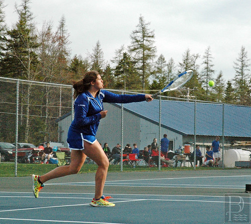 Sports; DIS; tennis; GSA; Allison; slams; 052115; DIS; Deer IsleStonington High School; Mariners; dishs; game; high school; school; sport; sports; team; tennis Allsion Cormier slams a return in a match against GSA. Photo by Jack Scott
