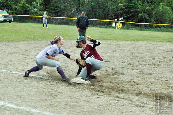 Sports; GSA; DIS; ball; ashley; makes; tag; 061115; DIS; Deer IsleStonington High School; Eagles; GSA; George Stevens Academy; SBBBGSA060315; dishs; game; high school; school; sport; sports; team Mariner Ashley Haskell tags Eagle Katrina Limeburner for the out at second base. Photo by Jack Scott