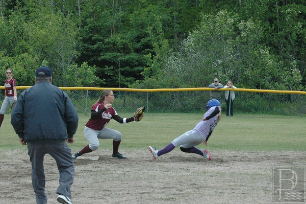 Sports; GSA; DIS; ball; holli; safe; 061115; DIS; Deer IsleStonington High School; Eagles; GSA; George Stevens Academy; SBBBGSA060315; dishs; game; high school; school; sport; sports; team Holli Boyce slides for the base hit. Photo by Jack Scott