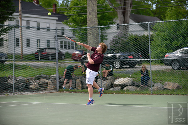 Sports; GSA; boys; tennis; semis; tim; dentino; 061115; Eagles; GSA; George Stevens Academy; game; high school; school; sport; sports; team Tim Dentino serves on his way to the first doubles win. Photo by Franklin Brown