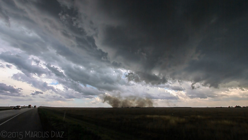 The weak tornado spins for about 3 minutes before dissipating.