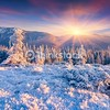 Colorful winter sunrise in the Carpathian mountains. Yavirnyk ridge, Ukraine, Europe.